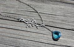 Beautiful Lariat necklace, color can be customized. #wedding #jewelry #bridesmaid #maidofhonor #somethingblue Aqua Teardrop Lariat Necklace Silver gift mother wife by CMDetc, $24.00