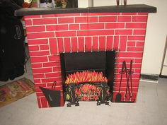 Cardboard fireplace - for Christmas time, when you didn't have the real thing!