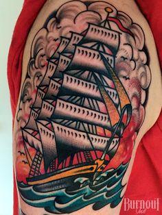 Ship by Christian Otto   BURNOUT INK TATTOO PARLOUR   Palma de Mallorca, Spain, Tattoo Mallorca, Tatuajes Palma de Mallorca, Tättowierungen Mallorca