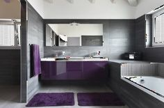 Smart And Creative Smart And Creative Purple And Grey Bathroom Ideas Pop Out Purple Modern Bathrooms Lonny - Osirix Interior Modern Luxury Bathroom, Contemporary Bathroom Designs, Bathroom Design Luxury, Modern Bathroom Decor, Small Bathroom, Master Bathroom, Modern Bathrooms, Bathroom Ideas, Luxury Bathrooms