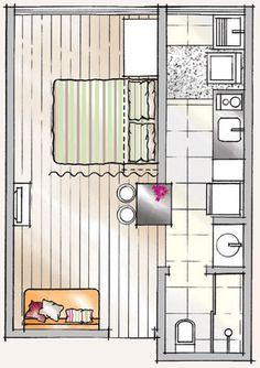 Apartamento de 30 m² reformado sem quebra-quebra - Casa - suite com wc duplo, chuveiro e banheiro Tiny Apartments, Tiny Spaces, Apartment Plans, Apartment Design, Mini Loft, Shed To Tiny House, Small House Floor Plans, Student House, House Stairs
