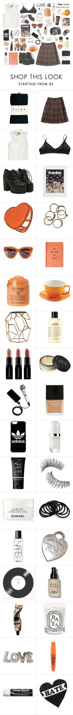 """♡ caught up in my emotions."" by etoilesdanse ❤ liked on Polyvore featuring Falke, Steven Alan, H&M, North, Dotti, Karen Walker, Price & Kensington, Emporium Home, philosophy and Smashbox"