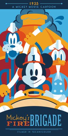 Mickey's Fire Brigade  Classic Disney Cartoons by ArtByLPrentice