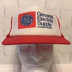 c7718b79bc0 Vintage GE General Electric Supply Cap Hat Mesh Snapback Red USA General  Electric