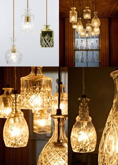 Vases and cups to lamps - beautiful! Diy Craft Projects, Home Projects, Diy Crafts, Diy Furniture Decor, I Love Lamp, Bottle Crafts, Lamp Light, Just For You, Interior Design