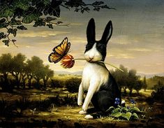 #rabbit rabbit rabbit....sorry I do not know the artist of this whimsical painting of a rabit and butterfly
