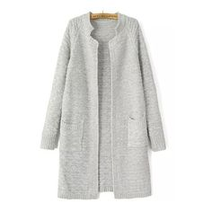 Light Grey Stand Collar Long Sleeve Knit Cardigan (185 GTQ) ❤ liked on Polyvore featuring tops, cardigans, grey, short-sleeve cardigan, grey cardigan, loose knit cardigan, loose fitting tops and grey top