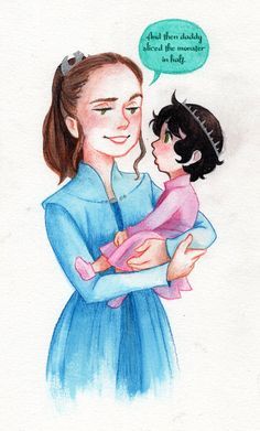 "space-trash-princess: ""I redid my older sketch in watercolor pencils. Empress Rey and my little reylo baby, Princess Lyris Andara Solo. """