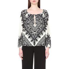 ALICE & OLIVIA Naya jacquard-print crepe blouse ($390) ❤ liked on Polyvore featuring tops, blouses, black white, print top, print blouse, crepe blouse, black and white print blouse and tie blouse