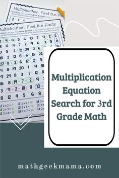 Looking for a fun free math worksheet that helps with multiplication facts? This is a multiplication equation search (like a word search but it's a math search). Great math activity for 3rd grade math or 4th grade math. Kindergarten Math Games, Teaching Multiplication, Fun Math, Math Activities, Maths, Free Math Worksheets, Math Resources, Teaching Tips, Teaching Math