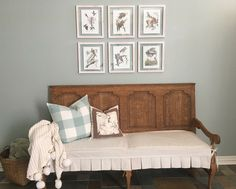 Entry makeover by Bluebonnet Home. Traditional touches with vintage bird print in Hobby Lobby frames. Vintage bench from Hard Rock Cafe in Dallas. Slipcover made by August Blues designed by Bluebonnet Home. This french Country Entry has beautiful Southern classic touches. Oyster Bay Sherwin williams wall color at 75%. Buffalo check pillow by August blues