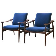 """Finn Juhl early pair of """"Spade Chairs"""" in rosewood with blue mohair upholstery"""