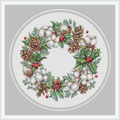 Cross Stitch Pattern Christmas Counted cross stitch chart Wall Art Winter wreath Christmas Xstitch E Counted Cross Stitch Kits, Cross Stitch Charts, Cross Stitch Patterns, Cross Stitches, Loom Patterns, Knitting Stitches, Learn Embroidery, Cross Stitch Embroidery, Embroidery Patterns