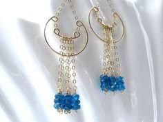 Ocean Blue 14K Gold Fill EarringsApatite.  by smilebreathe on Etsy, $72.00