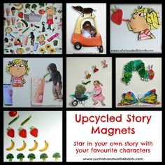 Great idea to use your old books. Cut out the pictures and stick magnets on the back. Then get the kids telling their own stories.