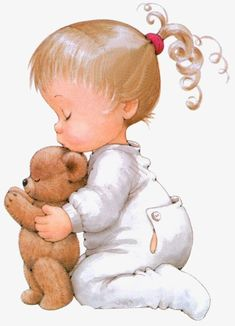 Girl with teddy - Ruth Morehead Cute Images, Cute Pictures, Cute Kids, Cute Babies, Art Mignon, Cute Clipart, Sarah Kay, Bear Toy, Baby Cards