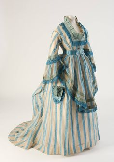 Blue striped cotton gauze day dress from 1874 | Fashion Museum Bath via Fripperies and Fobs