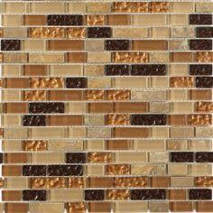 """Shop For Golden Road Blend Bricks 1/2"""" X 2"""" Marble & Glass Mosaic Tile at TileBar.com"""