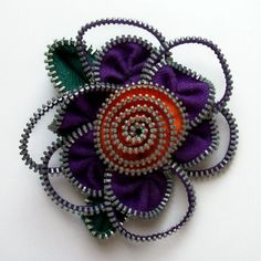 Purple and Orange Floral Brooch / Zipper Pin ❤ by ZipPinning, $30.00
