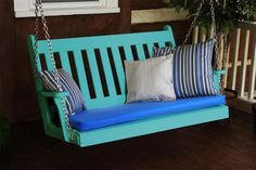 Amish Poly Traditional English Porch Swing Cozy porch swing made of highly durable poly lumber. Available in lots of fun colors. Choice of 4' or 5' length. Option to add fun throw pillows and cushion. #porchswings #outdoorswing