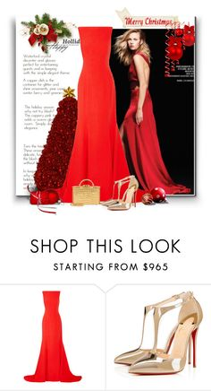 """""""Winter Red"""" by bliznec ❤ liked on Polyvore featuring Oscar de la Renta, Christian Louboutin and Mark Cross"""