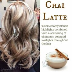 Trendy Hair Highlights : Chai Latte ~ creamy blonde highlights with cinnamon lowlights… Haircut And Color, Hair Color And Cut, Chi Hair Color, Creamy Blonde, Fall Hair Colors, Blonde Fall Hair Color, Winter Blonde Hair, Blonde For Fall, Trendy Hair Colors