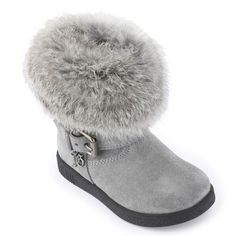 Pearl grey leather boots with a fur trim on the top. Dark grey leather insoles and lining. Strengthening patches on the heels. Zipper on the side. Black elastomere outsoles. Adjustable ankle straps. Leg = 10 cm. - 206,00 €