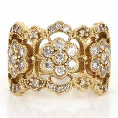 Vintage 14 Karat Yellow Gold Diamond Wide Cigar Flower Band Ring Estate Jewelry - 11 Main