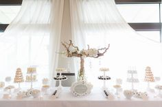 White Wedding Dessert Table #SweetEsBakeShop #Wedding #WeddingDessertTable