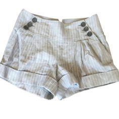 💛Sale💛Club Monaco Shorts Beautiful grey stripe shorts with fun button detailing on front.  Wore twice.  No trades. Club Monaco Shorts