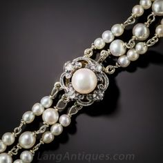 Dutch Natural Pearl Three-Strand Bracelet #langantiques #edwardianjewelry A trio of high-lustre, natural oriental pearl strands come together with a glittering, cultured pearl centered, rose-cut diamond clasp, crafted in silver over gold, in this delightful Edwardian-era treasure - circa 1900. The marks indicate Gouda, Netherlands.