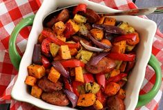 Paleo Chop & Drop Roasted Veggies & (Turkey, Chicken) Sausage Hot, hearty and super easy! Chop everything, add seasoning, and drop it on a baking sheet. Roast and serve.simple and delicious! Paleo Recipes Easy, Whole 30 Recipes, Veggie Recipes, Real Food Recipes, Cooking Recipes, Primal Recipes, Veggie Bake, Yummy Recipes, Free Recipes