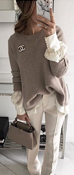 #spring #outfits woman in gray Chanel sweater and white pants. Pic by @fashionstyles4love