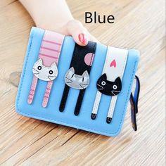 9978a8e641 2017 New Women Cute PU Leather Hasp Cartoon Cat Short Wallet Animal Change  Purse Card Holder Girls Handbag