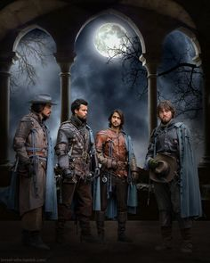 "The Musketeers by moonglowlilly (L to R) Aramis (Santiago Cabrera), Porthos (Howard Charles), D'Artagnan (Luke or Luca Pasqualino) & Athos (Tom Burke) on BBC's ""The Musketeers"""