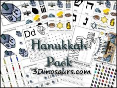 This ENORMOUS pack of Hanukkah-themed materials contains clip and count cards, sorting cards, patterns strips, dot pages, and many more math activities! Also includes a variety of literacy activities.