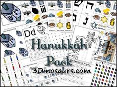 Free Hanukkah Pack from 3 Dinosaurs
