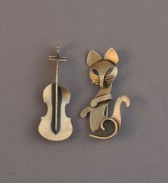 2 VINTAGE STERLING SILVER MODERNIST PINS -  CAT &  FIDDLE SET - BEAUCRAFT BEAU