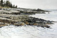 """Bay of Fundy Coast Summer by Tom Forrestall, watercolour Canadian Painters, Canadian Artists, East Coast Canada, Atlantic Canada, Magic Realism, Prince Edward Island, New Brunswick, Newfoundland, Nova Scotia"