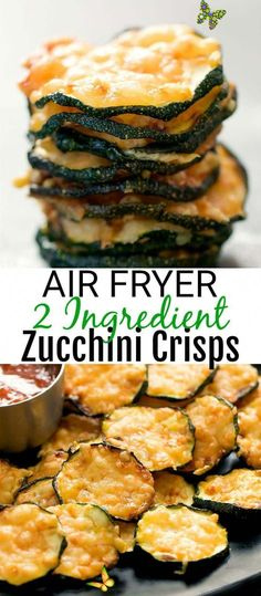 Air Fryer 2 Ingredient Parmesan Zucchini Crisps - Kirbie's Cravings 2 Ingredient Air Fryer Parmesan Zucchini Crisps. These zucchini crisps are so easy to make and are low carb, gluten free and keto friendly.. They make a great snack or side dish! #Recipes<br> These easy zucchini crisps are just 2 ingredients and make a great snack or side dish! Air Fryer Recipes Chips, Air Frier Recipes, Air Fryer Dinner Recipes, Air Fryer Recipes Easy, Recipes Dinner, Good Recipes, Air Fryer Chips, Air Fryer Recipes Gluten Free, Breakfast Recipes