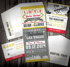 Viva Las Vegas Wedding Invitation SAMPLE by NimbiDesign on Etsy, $25.00