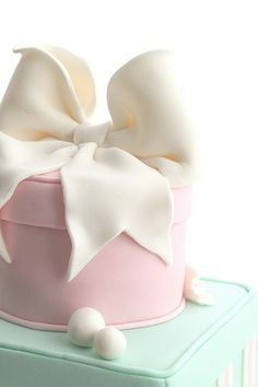 bow cake precious white fondant bow on pink iced cake love Gorgeous Cakes, Pretty Cakes, Cute Cakes, Amazing Cakes, Fancy Cakes, Mini Cakes, Gift Box Cakes, Bow Cakes, Take The Cake