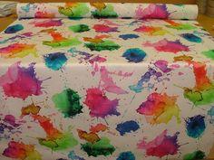 1 Metre Artist Watercolour Splash Photo Digital Printed Full Colour Designer Cotton Curtain Upholstery Fabric: Amazon.co.uk: Kitchen & Home