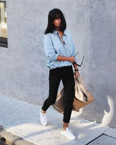 street style - black skinny jeans, denim shirt, sneakers ( fall - spring )