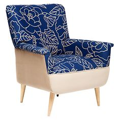 Home Poltrona Retro Basement, Accent Chairs, Armchair, Furniture, Home Decor, Wing Chairs, Home, Blue, Yurts