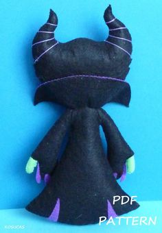 PDF sewing pattern to make the doll felt inspired Maleficent 6.3 inches tall.  It is not a finished doll.  Includes tutorial with pictures and step by