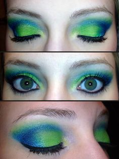 """Products Used:    • MAC """"Surf USA""""  • MAC Eyeshadow in """"Lime""""  • Sugarpill """"Starling"""" Loose Eyeshadow  • Maybelline Color Explosion in """"Forest Fury""""(used the lime only)  • Maybelline Color Explosion in """"Blue Blowout"""" (used the darkest blue in the palette)  • Urban Decay 24/7 Glide-On Eye Pencil in """"Perversion""""  • MAC Fluidline  • MAC Plush Lash Mascara"""