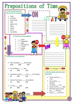 Here's a simple and easy worksheet for teaching or revising prepositions of time: at, on and in at elementary level. Grammar: Prepositions, Prepositions of time. French Lessons, English Lessons, Learn English, English Prepositions, English Grammar Worksheets, Grammar Exercises, English Exercises, Teaching Grammar, Teaching English