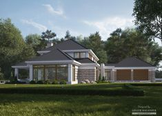 House with attic in modern style with usable area House with a large garage. Minimum size of a plot needed for building a house is m. Modern Bungalow House, House Elevation, Dream House Plans, Exterior Colors, Home Projects, Custom Homes, My House, Building A House, Shed