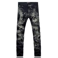 Chinese Dragon Print Slim Denim Jeans